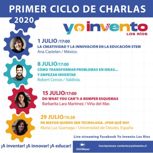 """Yo Invento Los Ríos realizará Ciclo de Charlas virtuales """"¡A inventar! ¡A innovar! ¡A Educar!"""
